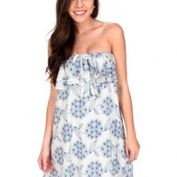 Cool Water Blue And Ivory Floral Ruffled Dress   Monday Dress Boutique