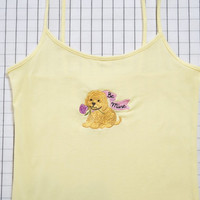 Valentine Puppy Shirt, Be Mine Yellow Cami Top, Cami Top, Camisole, Rose, Embroidered Shirt, Love, Valentine