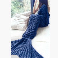 Navy blue Knit Mermaid Party to Be Adored Blanket for Sofa Bed Home Gift