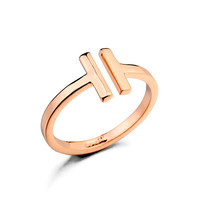 Fashion Ring for Women Real Gold Plated Opening Letter T Shaped Gold Ring Bagues Jewelry