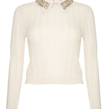 Tamsin Slim Cable Sweater With Jeweled Collar   Alice + Olivia