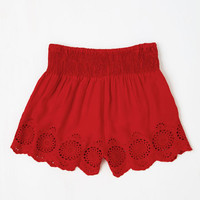 ModCloth Folk Art Short Length Give It a Triumph Shorts in Ruby