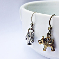 Snowy Dangling Earrings: Tintin's Companion Dog, Wire Fox Terrier charms, Year of the Dog