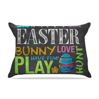 """Snap Studio """"Happy Easter Text"""" Pastels Typography Pillow Case"""