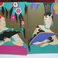 1920's Art Deco Gibson Finesse Boxed Bridge set of four pads gold gilded graphics of ladies dressed in spanish hair combs holding deco fans