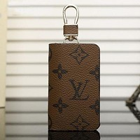 LV Fashion Leather Zipper Car Key Wallet Case Cover Brown I