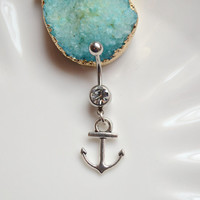 Silvery Anchor belly button ring, Navel Piercing ,friendship belly rings, Dangle Belly Ring , Belly Button Piercing ,Women belly jewelry
