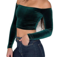 velvet shoulder Crop Top tg