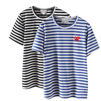 SIMPLE - Heart Stripes Red Short Sleeve Casual Party Wear Holiday Plain Short Sleeve Top blouse T-shirt b2358
