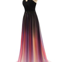 Simpledress Unique Gradient Multi-color Strapless Ruffle Long Prom Dress