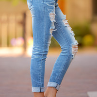 MACHINE Distressed Crop Skinny Jeans - Tasha Wash