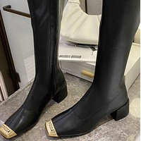 New soft leather small square toe thick heel boots not knee-high shoes