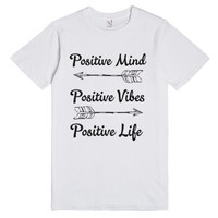 Stay Positive-Unisex White T-Shirt