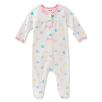 Absorba® Watercolor Dot Snap-Front Footie in White