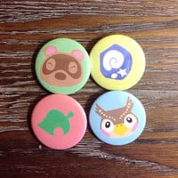 Animal Crossing set of Pin back Buttons