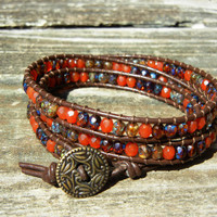 Beaded Leather 3 Wrap Bracelet with Brown Tone Czech Glass Beads and Brown Leather for Fall