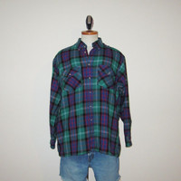 Vintage 80's Plaid FLANNEL Grunge Fall Acrylic Button Up Longsleeve Shirt - Size LARGE