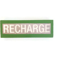 RECHARGE fridge magnet GREEN unique happy decor for any kitchen office man cave reworked jenga block