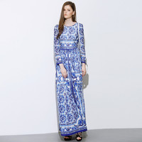 Blue Floral Printed Retro Maxi Dress