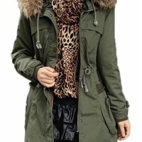 Women's Winter Coats Wide Wool Collar Padded Thick Jackets