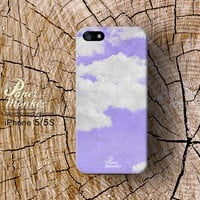 Abstract Cloud on purple sky, iPhone 5 case, iPhone 4S case, Decoupage case for iPhone.