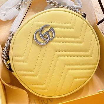 GUCCI New fashion leather chain shoulder bag crossbody bag Yellow