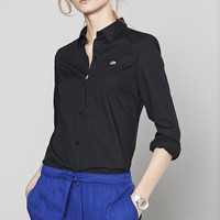 Lacoste Long Sleeve Stretch Poplin Woven Shirt : Tops & Tees