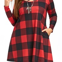 Plus Size Long Sleeve Criss Cross Mini Plaid Dress
