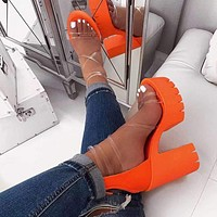 2020 new women's fashionable thick heel super high heels shoes