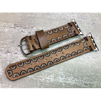 Brown Leather Apple Watch Band White Daisies - Ready To Ship