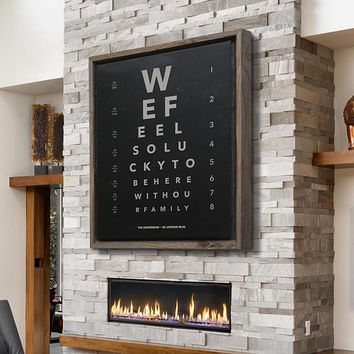 Custom Message Eye Chart Canvas Art Charcoal Black Rustic Home Decor Rustic Art Large Wall Art