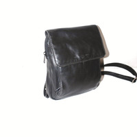 black leather mini backpack 90s grunge minimalist vintage square leather back pack