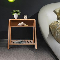 Bamboo Bedside End Table/Nightstand with Open Storage and Shelf
