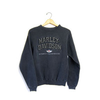 Vintage Harley Davidson sweatshirt. Black pigment dyed Motorcycle sweater Worn in grunge Moto Womens Small