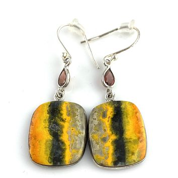 Bumble Bee Jasper & Garnet Sterling Silver Earrings