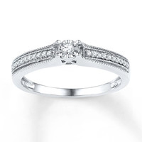 Diamond Promise Ring 1/8 ct tw Round-cut Sterling Silver