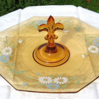 Vintage Yellow Depression Glass Sandwich Plate with Center Handle and Raised Flower Pattern