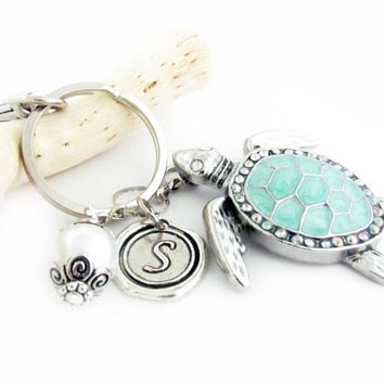 Sea Turtle Keychain with Initial