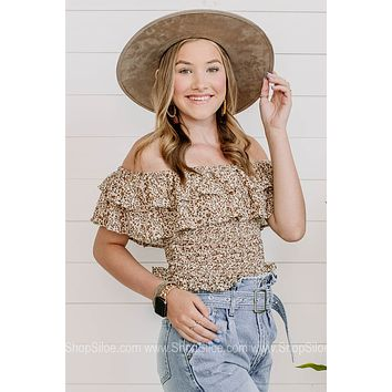 All The Best Smocked Floral Crop Top