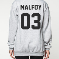 Draco Malfoy Harry Potter Sweatshirt Deathly Hallows Movie Shirts Sweater Women Tee T-Shirt Unisex Jumper Grey Size S M L