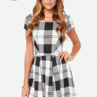 LULUS Exclusive Chess Queen Black and Ivory Plaid Dress