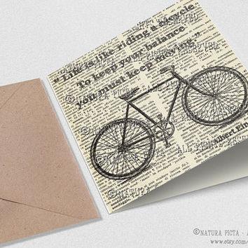 Einstein Bicycle quote Square Greeting Card with envelope- 5.67x5.67 inches - Invitation Birthday card - Design by NATURA PICTA NPSGC004