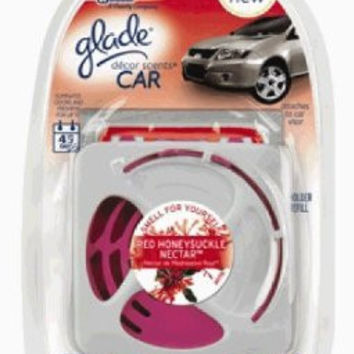 Glade Décor Scents Car Starter Air Fresheners, Red Honeysuckle Nectar, .28 Ounce