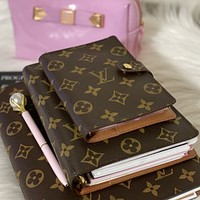 Louis Vuitton LV Hot Sale Classic Letter Printed Leather Writing Notebook Book bag