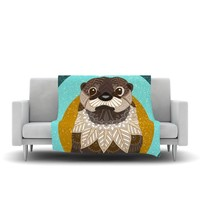 """Art Love Passion """"Otter in Water"""" Blue Brown Fleece Throw Blanket - Outlet Item"""
