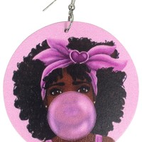 Leikeli - Chew Pon Ya Bubble Gum Earrings - Pink blowing bubbles jewelry