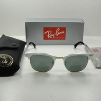 RAY-BAN CLUBMASTER ALUMINUM SUNGLASSES RB3507 137/40 SILVER/SILVER MIRROR 49MM