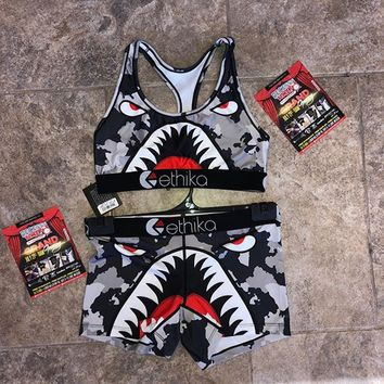 ETHIKA Gray High Waist The shark Pattern Bikini Swimsuit Swimwear E04