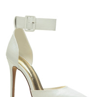 White Faux Snake Skin Pointy Ankle Strap Heels