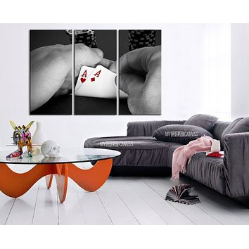 Poker Cards Canvas Art Print Playing Cards Art Canvas Print Framed Gallery Wrap Large Wall Art